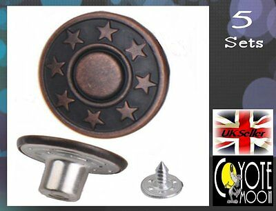 Rivets Fastener Stud Buttons Sewing Leather Denim Jeans Replacement 17 mm UK