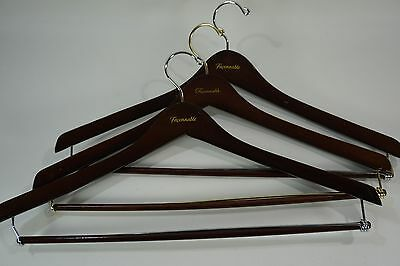 Vintage WOODEN HANGERS - Set of 3- FACONNABLE Suit Dress Coat Hangers Dark Stain