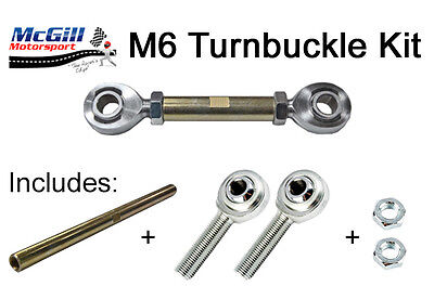 M6 Turnbuckle Kit Adjustment 100mm Upwards + Lock Nuts - Choose Rod Ends to Suit