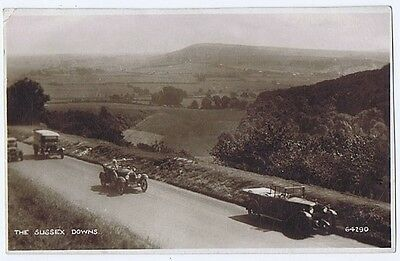 SUSSEX DOWNS Old Cars on the road, RP Postcard by Photocrom Unused