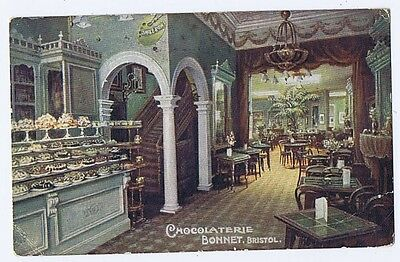 BRISTOL Chocolaterie Bonnet, Queens Road, Old Postcard Postally Used 1913