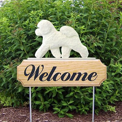 Bichon Frise Welcome Sign Outdoor Oak Wood Yard Sign