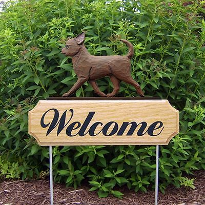 Chihuahua Oak Wood Welcome Outdoor Yard Sign Chocolate