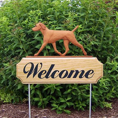 Vizsla Dog Breed Oak Wood Welcome Outdoor Yard Sign