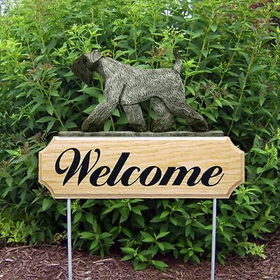Kerry Blue Terrier Oak Wood Welcome Outdoor Yard Sign
