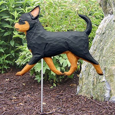 Chihuahua Outdoor Garden Sign Hand Painted Figure Black/Tan