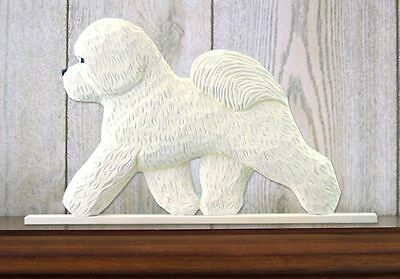 Bichon Frise Dog Figurine Sign Plaque Display Wall Decoration