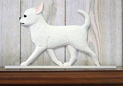 Chihuahua Figurine Sign Plaque Display Wall Decoration White