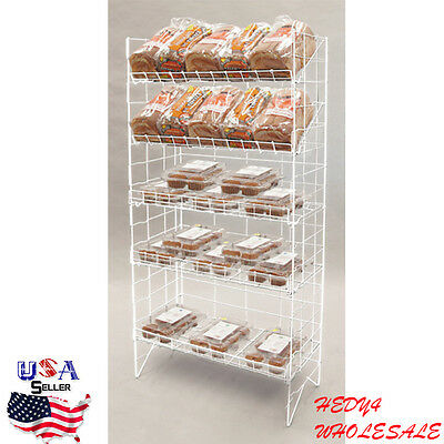 NEW 5-Tier Adjustable Wire Shelf Retail Product Display Rack White WHOLESALE