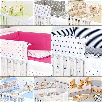 4 PCS COT or COTBED BEDDING SET  DUVET COVER BUMPER JERSEY FITTED SHEET