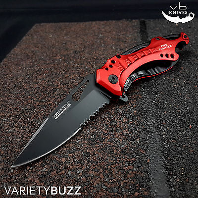 """8"""" TAC FORCE TACTICAL SPRING ASSISTED FOLDING KNIFE Blade pocket open REd New"""