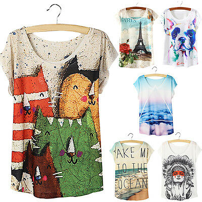 Fashion Women Cotton Printed Loose Short Sleeve Casual T-shirt Tops Blouse Shirt