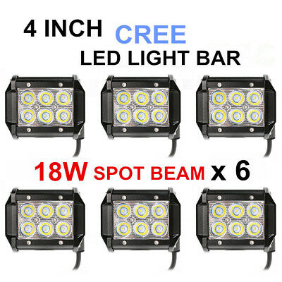 6x 4inch 18W Cree LED Work Light Bar Driving Lamp Flood Truck Offroad UTE 4WD