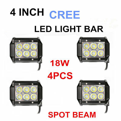 4x 4inch 18W Cree LED Work Light Bar Driving Lamp Flood Truck Offroad UTE 4WD