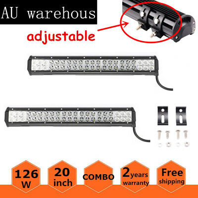 2x 20inch 126W CREE LED Spot Flood Combo 4WD Work Light Bar Offroad UTE Lamp SUV