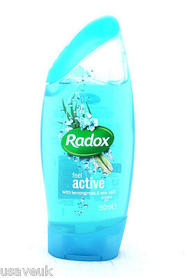 3 x Radox Shower Gel  250ml  Blue Feel Active With Lemongrass & seasalt