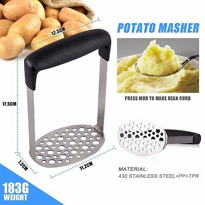 Wide Grip Metal Potato Masher Heavy Duty Stainless Steel Ricer Cutter Tool UK