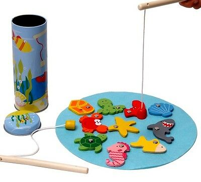 13pc Wooden Magnetic FISHING Game/Set w Tin Storage Cylinder Travel Toy (2 rods)