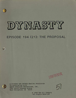 JOAN COLLINS - LINDA EVANS - Original DYNASTY TV Script 'THE PROPOSAL' 1988 C#22