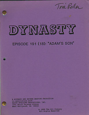 MICHAEL NADER - JOAN COLLINS - Original DYNASTY TV Script 'ADAM'S SON' 1987 C#22