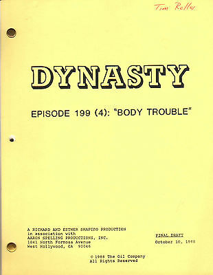 JOHN FORSYTH - JOAN COLLINS - Orig DYNASTY TV  Script 'BODY TROUBLE' 1988 C#22