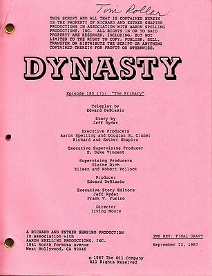 MICHAEL NADER - JOAN COLLINS - Orig DYNASTY TV Script 'THE PRIMARY' 1987 C#12