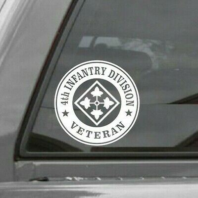4TH INFANTRY DIVISION  ROUNDEL Vinyl Window Decal Sticker US ARMY