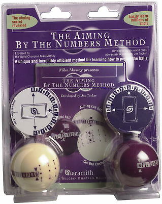 Genuine Aramith Training By The Numbers Learning/Aiming Pool/Billiards Ball Set