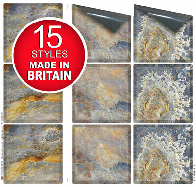 """9 Tile Transfer Stickers 4""""x 4"""" RUSTIC SLATE for Kitchen & Bathroom tiles"""