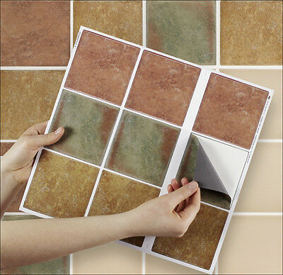 """9 Tile Transfer Stickers 4"""" x 4"""" TUSCANY for Kitchen & Bathroom tiles"""