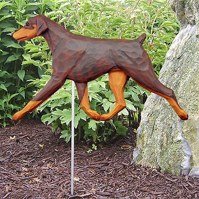 Doberman Pinscher Outdoor Garden Sign Hand Painted Figure Red/Tan Uncropped