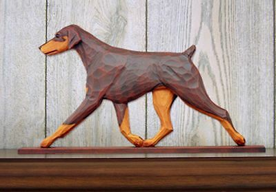 Doberman Pinscher Figurine Sign Plaque Display Wall Decoration Red/Tan Uncropped