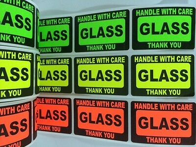 210 2x3 GLASS Handle with Care Label Sticker NEON FRAGILE GREEN RED YELLOW NEW