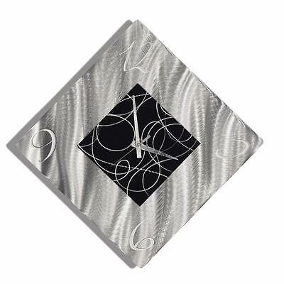 Jon Allen Metal Wall Clock Art Silver & Black Abstract Modern Home Accent Decor