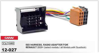 CARAV 12-027 ISO harness adapter for car audio RENAULT 09+ all with Quadlock