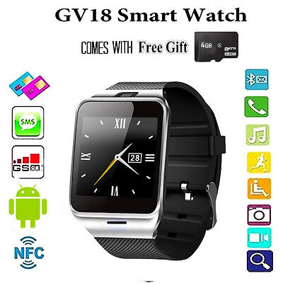 Android Ios Phone Gv18 Aplus Smart Wrist Watch With Bluetooth Camera Nfc Gsm New