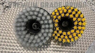 "2x Scrub Brush Upholstery Car Seat Carpet Mat 5"" Round Power Drill Attachment"