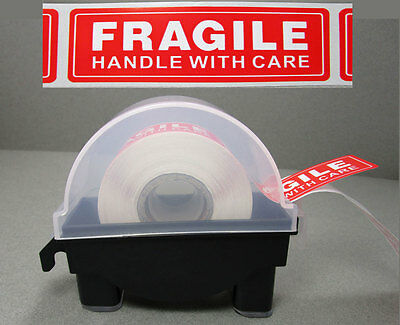 """1"""" Label Sticker Roll Manual Dispenser & 250 1x3 Fragile Shipping Labels Combo"""