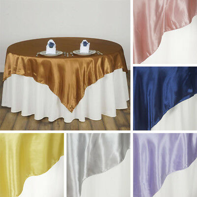 """20 SATIN SQUARE 90x90"""" TABLE OVERLAYS Wedding Party Prom Catering Decorations"""