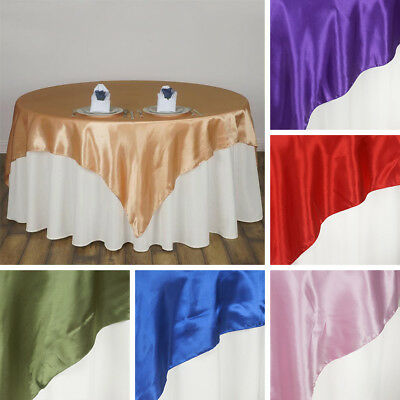 """3 Dozen SATIN SQUARE 90x90"""" 36 TABLE OVERLAYS Wedding Party Catering Decorations"""
