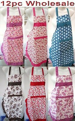 12pc Wholesale Bulk Lots Kitchen Apron with Front Pocket Water Proof Mixed Color