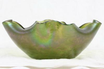 Antique 1900 LOETZ Iridescent Oil Spot Papillion Glass Bowl Art Nouveau Bohemian