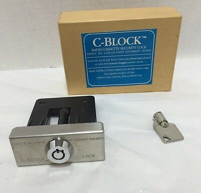 Vintage Lock C-Block Radio Cassette Security in Box with Key
