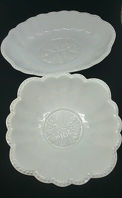 set of 2 white glass floral pleated candy dish bowl Joshua Maxwell oval round
