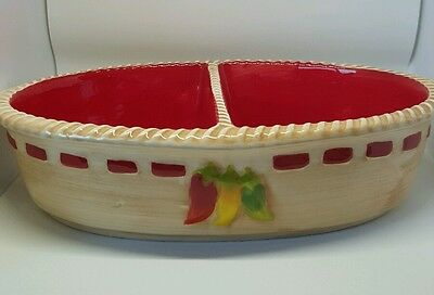 Avon divided cooking baking serving dish bowl red beige