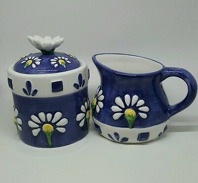 cream and sugar set Onieda floral blue white