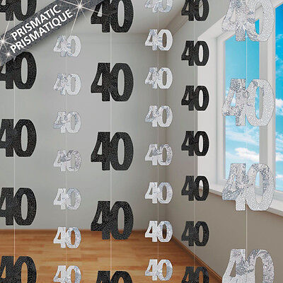 40th BIRTHDAY PARTY SUPPLIES PK 6 GLITZ BLACK AND SILVER HANGING DECORATIONS