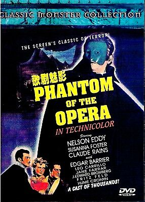 "NEW DVD  "" Phantom Of The Opera "" Nelson Eddy, Susanna Foster, Claude Rains"