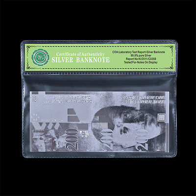 Switzerland Swiss Franc 200 Bank Note Silver Plated Design Banknote Uncirculated