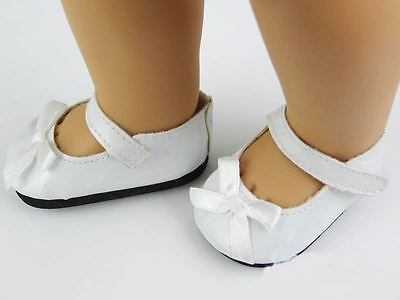"""Doll Shoes White Color with Bow Fits 18"""" American Girl Doll Clothes"""
